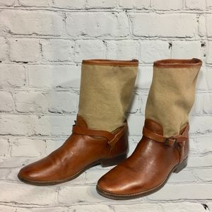 Frye Melissa Moto Brown Canvas Leather Boots 9.5